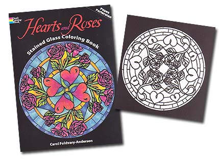 coloring pages of hearts with roses. Hearts and Roses Stained
