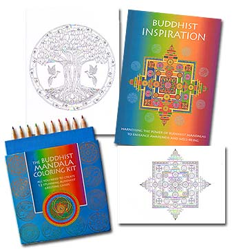 The Buddhist Mandala Notecard<br>Coloring Kit (12)<br><b><font color=red>10%  Discount</font></b>
