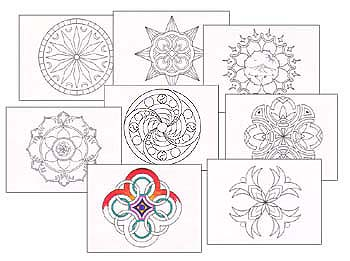 Color Me! Mandala Postcards (8)<br>by M. Mandali<br><b><font color=#FF0000>A Bargain!</font></b>